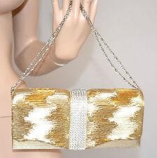 POCHETTE ORO donna BORSELLO ELEGANTE borsa clutch strass cerimonia cristalli 740
