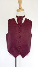 Boys Kids Waistcoat With Cravat Burgundy Paisley Wedding PageBoy Smart Formal