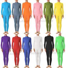 Unisex Adult Kid Lycra zentai Long Sleeve Dancewear no Hood & Hands Unitard