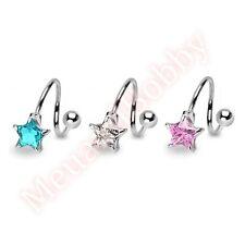 14G CZ Star Spiral Twist Barbell Belly Ring Body Piercing Jewellery