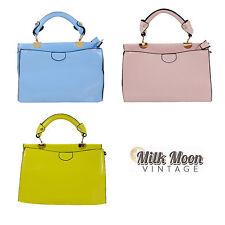 Pastel Handbag Shoulder Bag Retro PU Leather Pink Blue Yellow Adjustable Zipped
