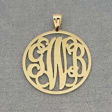 10k Solid Gold 3 Initials Circle Monogram Pendant 1 inch Diameter GM42