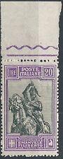 1928 REGNO EMANUELE FILIBERTO E VITTORIA 20 LIRE LUSSO MNH ** - RR11056