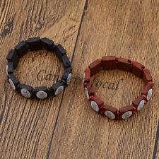 Unisex Muslim Bracelet Wooden Elastic Bangle Allah Islamic Cuff Jewelry Gift