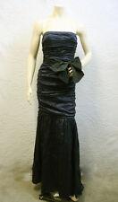 $698 NAVY RUCHED SASH TIE  STRAPLESS TAFFETA LONG GOWN DRESS NWT XXS