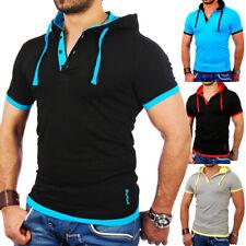 Reslad T-Shirt Herren Kurzarm Slim Kapuzenshirt Polo-Shirt Hemd Hoodie RS-5033