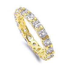 Women Sterling Silver Princess Cut CZ Gold Tone Eternity Ring Band 3MM