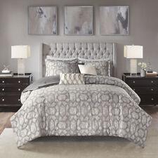 Beautiful Modern Chic Rich Grey Contemporary Silver Geometric Soft Comforter Set