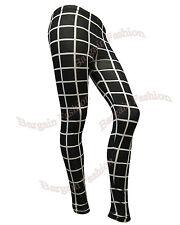 Señoras Nuevo Blanco Y Negro estampado a cuadros para mujer tipo legging capri Tallas 8 10 12 14 16