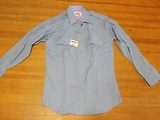 NOS Vintage Elbeco Duty Work Uniform Blue Collar Light Blue Long Sleeve Shirt