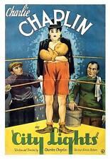 City lights, vintage charlie chaplin film wall art poster reproduction.