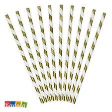 10 Cannucce Carta Spirale Oro Metal da 19,5 cm - Paper Straws Righe Gold Bianche