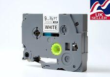 1-12x 9mm cinta TZe 221, TZ 221 Negro/blanco para las impresoras de etiquetas Brother P-Touch