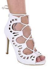 Scarpe donna lacci intrecciati similpelle tacco alto ecopelle scarpe alte simil