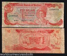 BELIZE 5 DOLLARS P47A 1987 QUEEN BIRD LIZARD RARE GB UK CARIBBEAN MONEY BANKNOTE