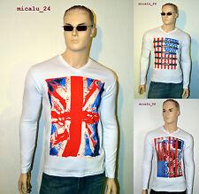 US / UK Flaggen langarm  LONGSLEEVE Shirt Pullover V-Neck T-Shirt Gr. S-XXL NEU
