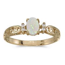 14k Yellow Gold Oval Opal And Diamond Filigree Ring