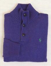 Polo Ralph Lauren Blue Label Pony Mockneck Pullover Purple 1/2 Button Sweater XL
