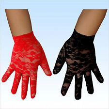 Gemusterte Handschuhe rot oder schwarz Handschuh Accessoire Fasching