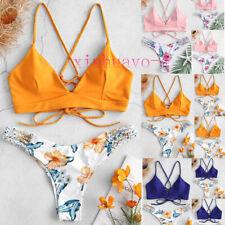 11236f4d26c99 Women's Girl Bikini Cut Flowers One Piece Swimsuit Pushups Swimwear  Beachwear DA