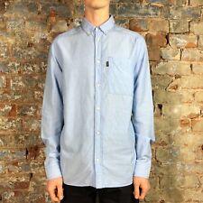 WESC Sullivan New Long Sleeve Striped Shirt Regatta Blue size S