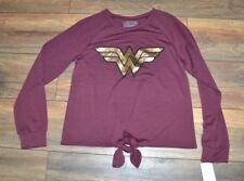 Juniors WONDER WOMAN Long Sleeve Shirt Licensed DC Comics Tie in Front