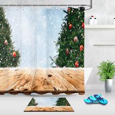 Rustic Wood Table Beautiful Xmas Tree Snowfall Shower Curtain Hooks Bathroom Mat
