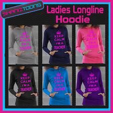 KEEP CALM IM A TEACHER GIRLS LADIES TEENAGERS LONG LINE HOODIE GREAT GIFT