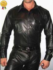 Men's Hot and Attractive Police Uniform Shirt Genuine Real Black Sheep/Lamb