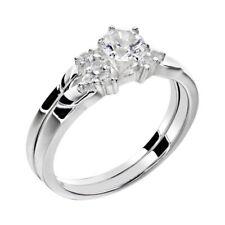 White Gold Sterling Silver 0.9 Ct Round White Sapphire Women's Wedding Ring Set