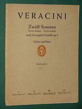 Partition Violon  acc. piano F. M. VERACINI 12 Sonates d'après Corelli Op. 5