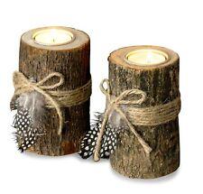 2er Set Teelichthalter Holz in 2 Größen Kerzenhalter Federn Kerzenständer