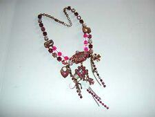 Funky Designer Pink Rhinestone Crystal Fan Lock Charms Dangle Copper Necklace