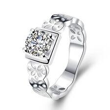 Silver CZ Zircon Rings Jewelry crystal Fashion Wedding women Girl Gift hot sale