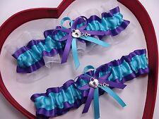 NEW Gorgeous Turquoise Purple White Wedding Garters Prom GetTheGoodStuff A+