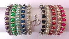 Glass Pearl Diamante Elastic Bracelet with Double Tibetan Heart Charm 10 COLOURS