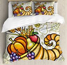 Harvest Duvet Cover Set with Pillow Shams Cornucopia Theme Food Print