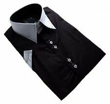 Designer Herren Hemd  Kurzarm 2 Knopf tailliert Slim Fit Herrenhemd