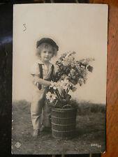cpa fantaisie enfant garcon fleurs panier PG 2255/56