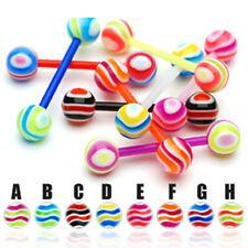 Zungen Piercing UV Barbell Flexibel Wellen Muster viele Farben