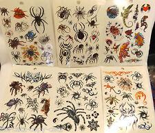 6x SHEETS BOYS MENS HALLOWEEN BLACK TEMPORARY TATTOOS SCARY SPIDERS SKULLS UK