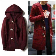 Men Oversize Knitted Cardigan Coat Hooded Jumper Coat Long Jacket Toggle Thick
