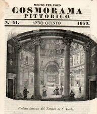 Stampa antica MILANO Chiesa SAN CARLO al CORSO Corso V. Emanuele 1839 Old Print