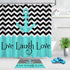 Nautical Anchor Live Laugh Love Shower Curtain Liner Bathroom Mat Waterproof