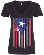 Puerto Rico American Flag Women's V-Neck T-Shirt Rican US USA Pride