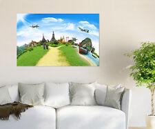 3D Aircraft Grassland 779 Wall Stickers Vinyl Wall Murals Print AJSTORE US Lemon