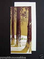 #E509- Vintage Unused Xmas Greeting Card Stunning Winter Forest Scene & Village