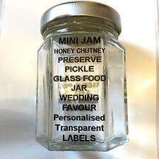 Mini Glass Jar Transparent Labels Printed Black Personalised  50mm x 25mm