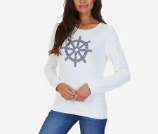 Nautica Womens Long Sleeve Ship's Wheel Intarsia Sweater