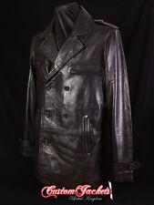 Men's MOBSTER Black Lambskin Mid-Length Real Leather Reefer Jacket Coat